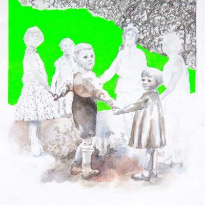 Le dernier été, 2014 - aquarelle, crayon de papier, papier fluo 30x40