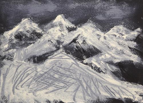 Paysage de Morzine la nuit - 13 X 18 cm