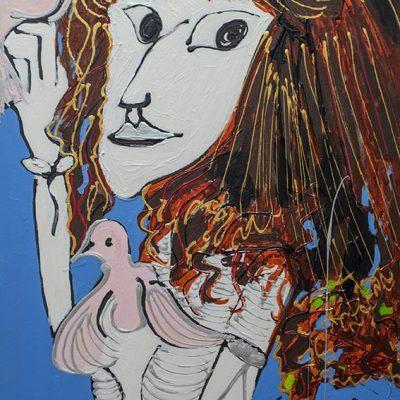 Isa Sator « La cousine d'Amérique » 2018 120 x 60 cm Acrylique sur toile