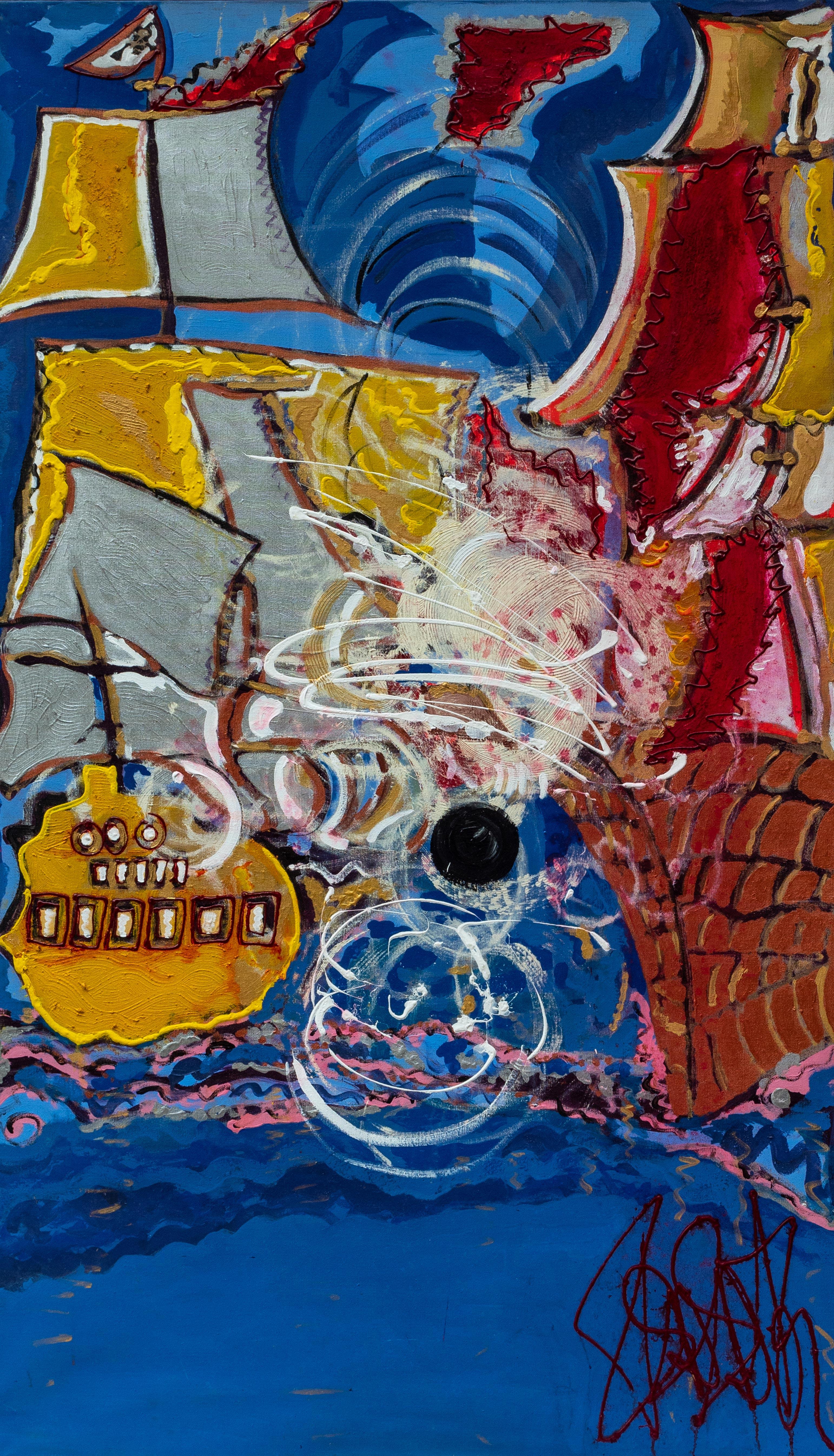 A boulet tiré Isa Sator 190 x 110 Acrylique sur lin