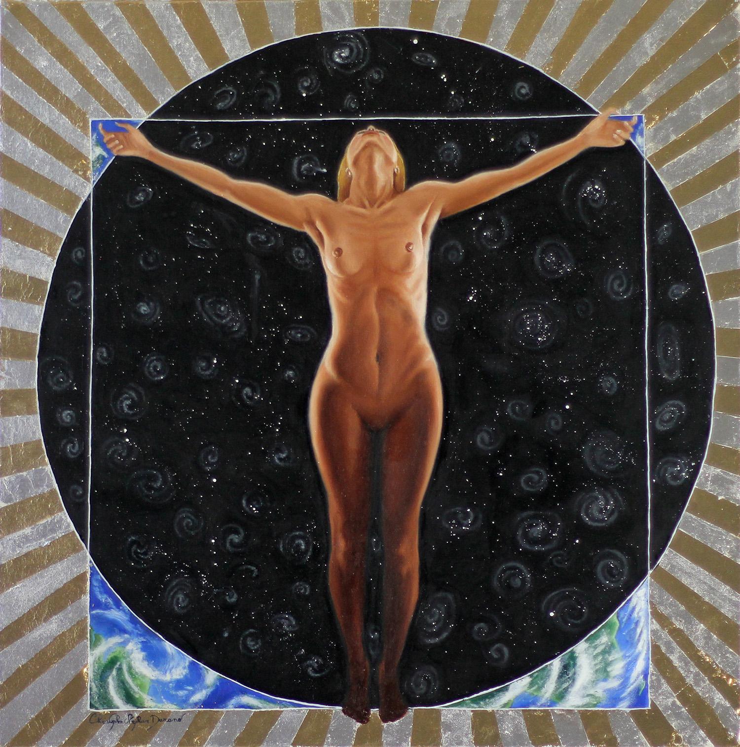 La Femme au centre du monde Huile sur coton et technique mixte 50x50cm