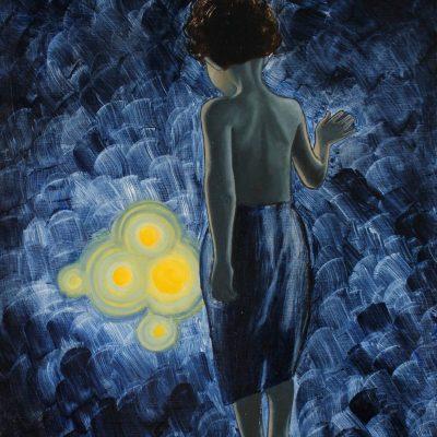 Boy in the blue par Christophe Stephan Durand Huile sur coton 40x50cm